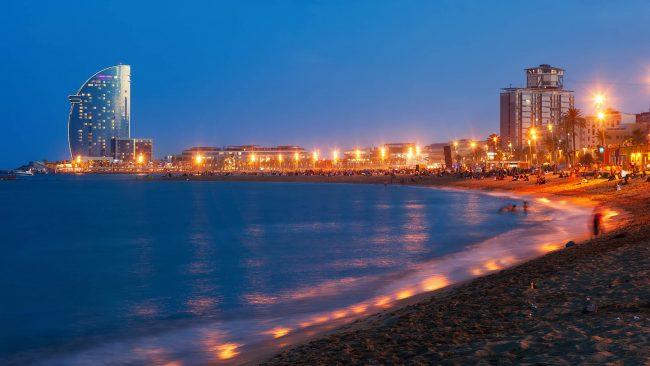 Night view of Barceloneta beach