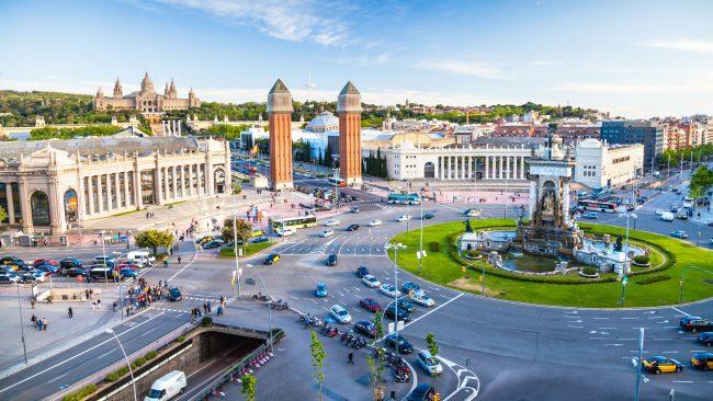 Aerial view of the Plaza de España, Barcelona