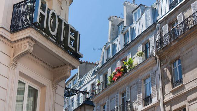 Hotel with typical Parisian facade