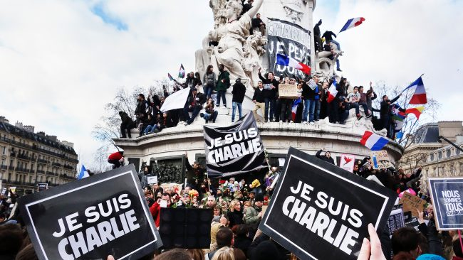Demonstration after attack on Charlie Hebdo in Paris