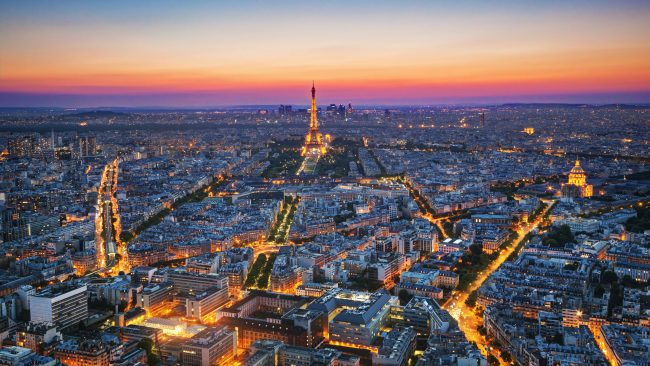 Aerial view of Paris at nightfall
