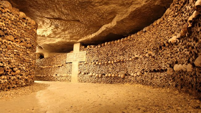 View of the interior of the Catacombs of Paris