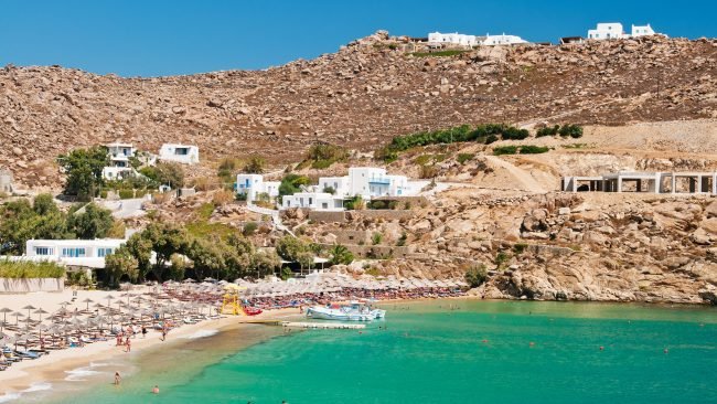 Views of the Super Paradise beach in Mykonos, Greece