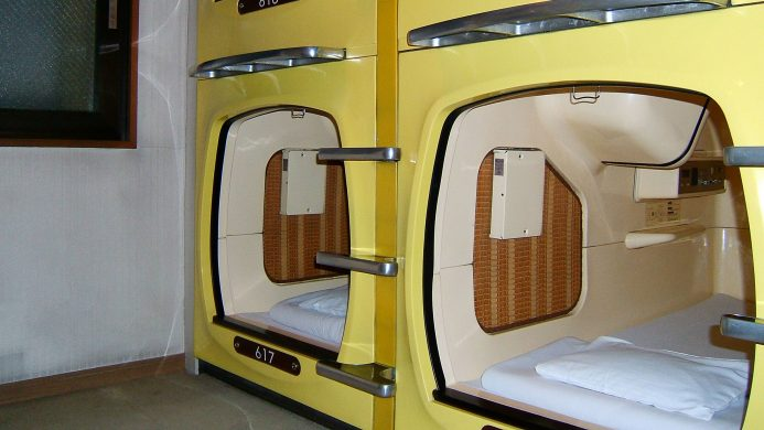 Typical capsule hotels of Japan