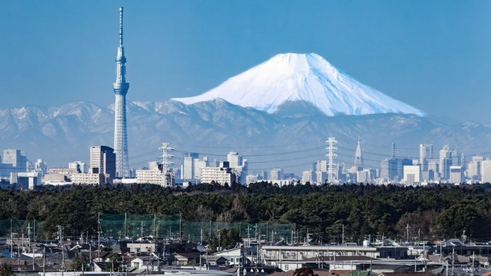 Tokyo panorama with snowy Mount Fuji