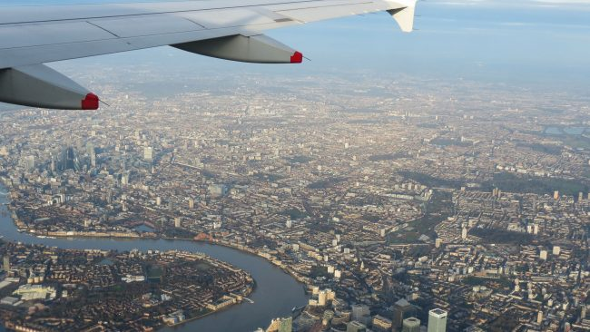 Plane about to land in London