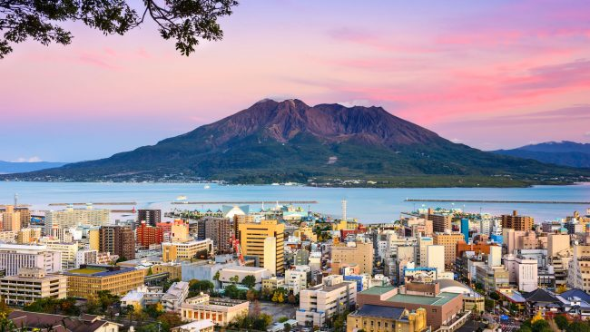 Kagoshima city overlooking the Sakurajima volcano