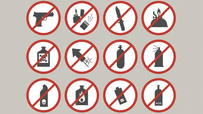 Prohibited items such as hand luggage: weapons in general
