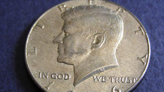 John F. Kennedy in half dollar coin