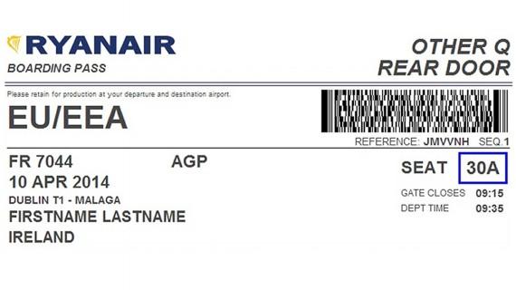 Modèle de carte d'embarquement en ligne Ryanair