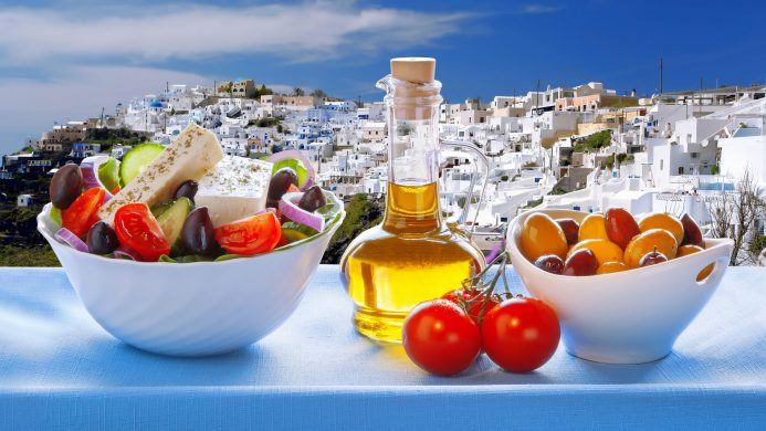 Preparation of the classic Greek salad