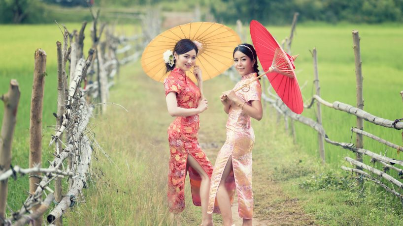 The typical Chinese costume traditional mens and womens clothing