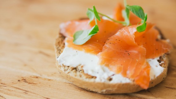 Salted salmon and cheese tartine on rustic bread
