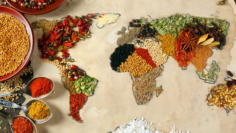 The five continents of the world and its gastronomy