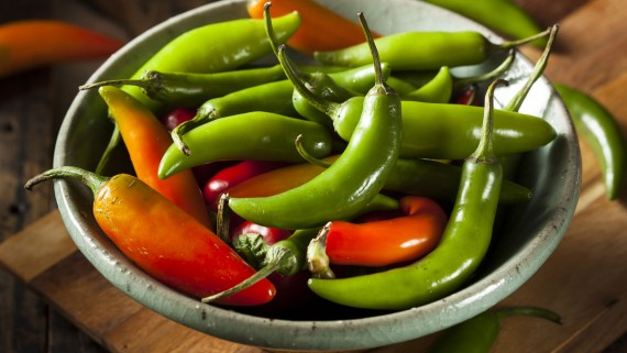 Green and ripe mountain peppers