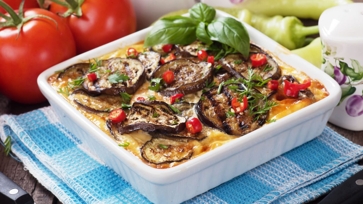 Greek food eggplant musaka