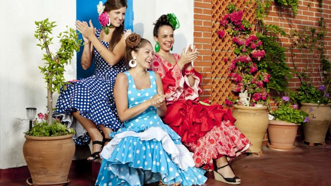 Women with typical flamenco dancer costume