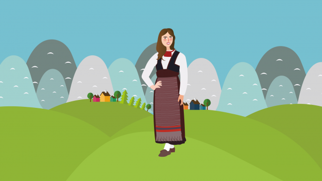 Sketch of woman with typical Finland costume