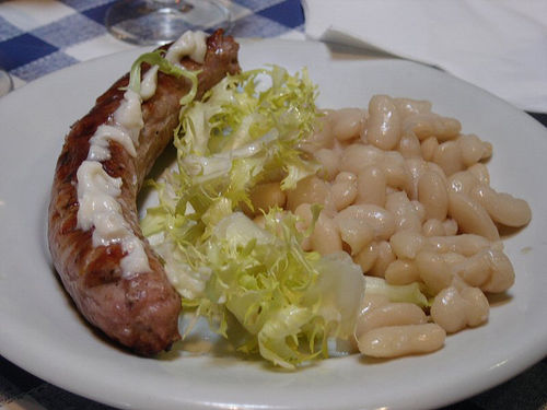Typical Catalan food Butifarra with beans
