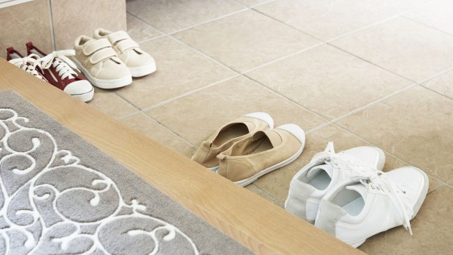 Canadian custom of taking off shoes when entering home