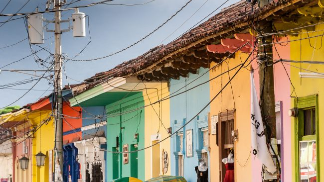 Colorful houses in the center of Granada, Nicaragua