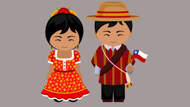 Drawing of the typical costumes of Chile