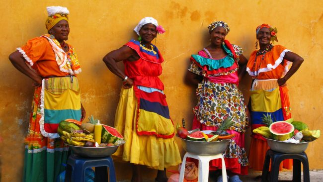 Palenqueras of Colombia with typical costume