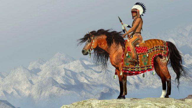 American Indian on Appaloosa horse