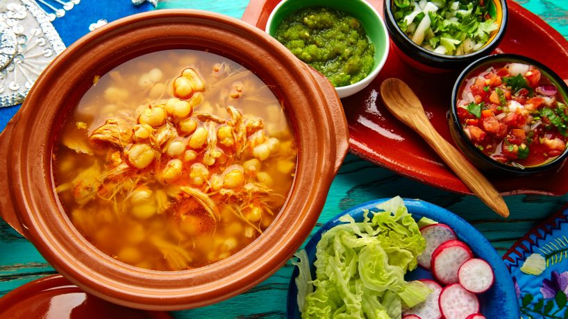 Typical food of Mexico pozole blanco