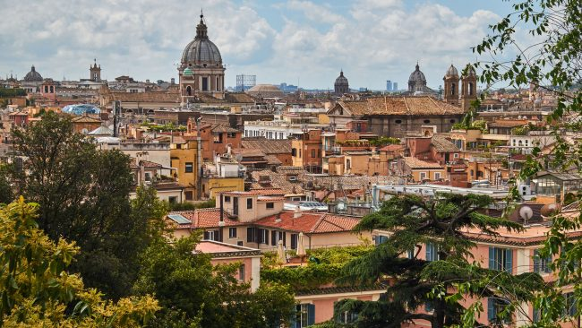 Landscape of a typical residential neighborhood in Rome