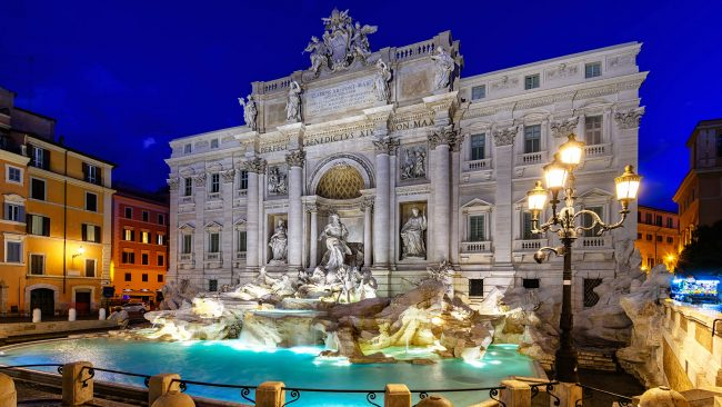 Night arrives at the Trevi Fountain, Rome