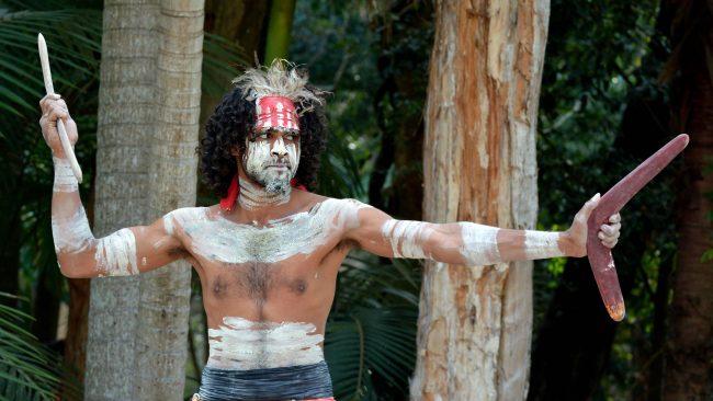 Typical costumes of the Yugambeh Australian aborigines
