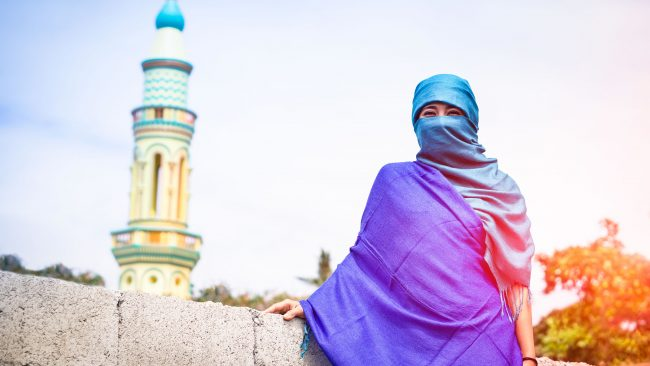 Woman with typical islamic scarf