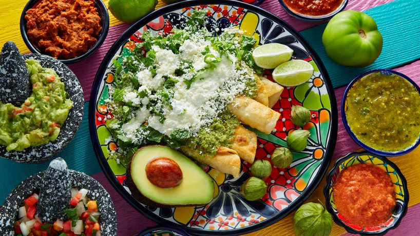 Typical food of Mexico enchilada