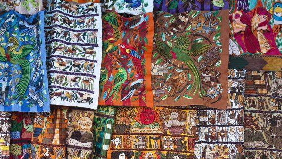 Bird prints typical of the Guatemalan huipil