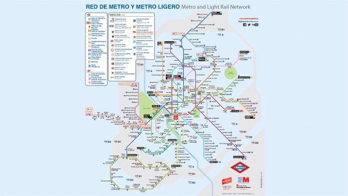 Madrid metro and light rail network map