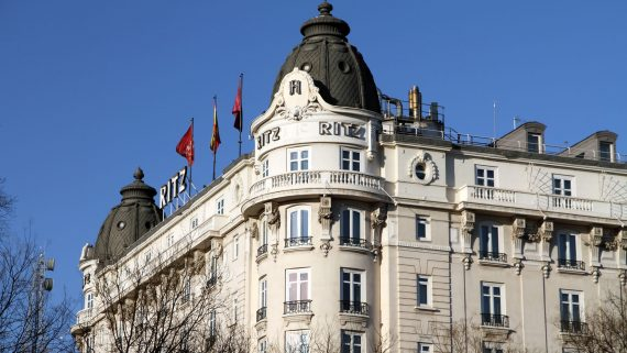 Views of the Ritz hotel in Madrid