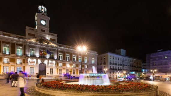 Puerta del Sol at night, Madrid