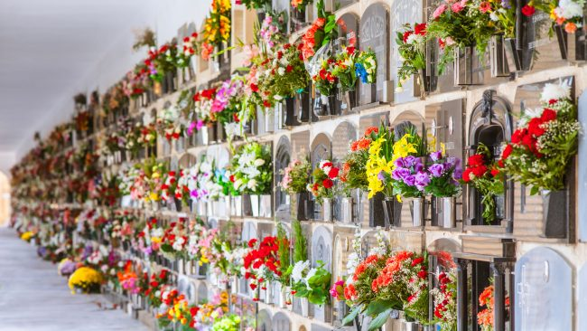 Funeral wreaths on the Day of the Dead