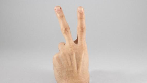 """Gesture called """"longbowman"""" or """"reversed peace"""""""