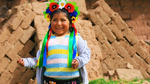 The attire of the children of the Aymara Tribe, Peruvian Andes