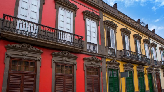 Traditional facades of the neighborhood of La Vegueta, Las Palmas