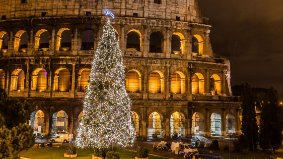 The Roman Colosseum at Christmas
