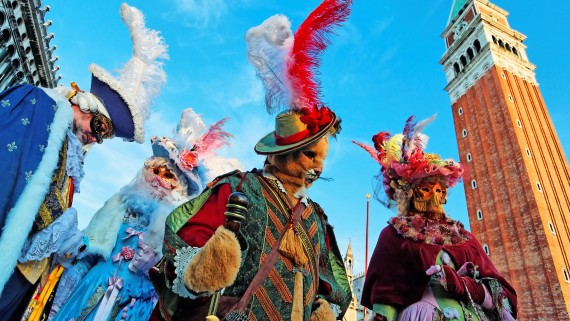 Typical costumes of the Carnival of Venice in Piazza San Marco