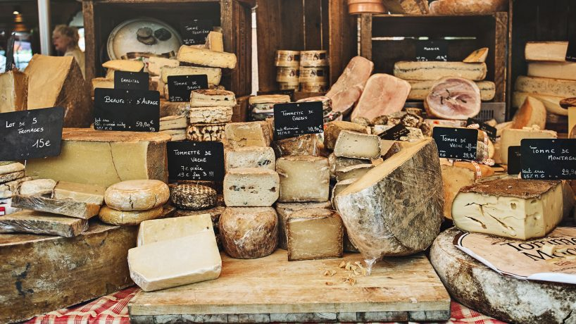 First steps in typical French food French cheeses