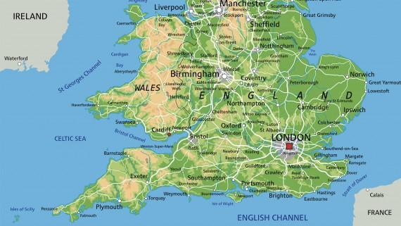 England physical map