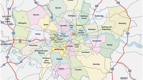 Map of the boroughs of London