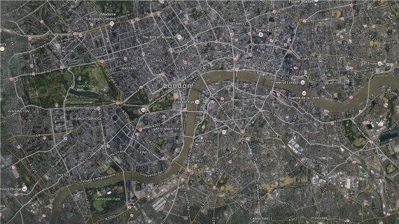 London map by satellite