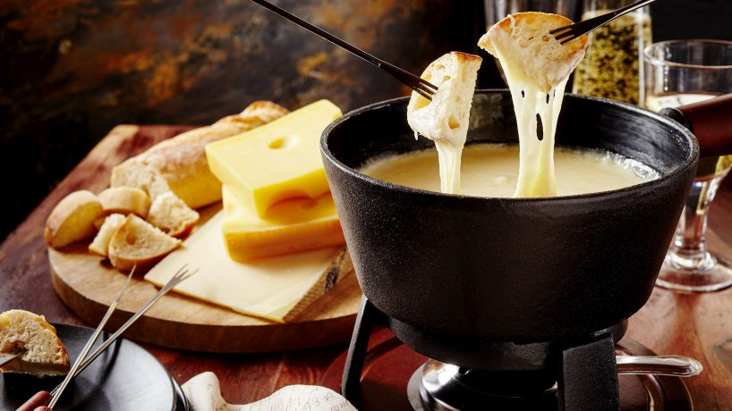Typical food of France cheese fondue