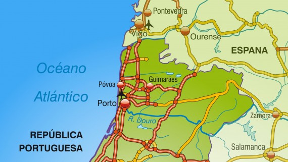Portugal highway map: north zone